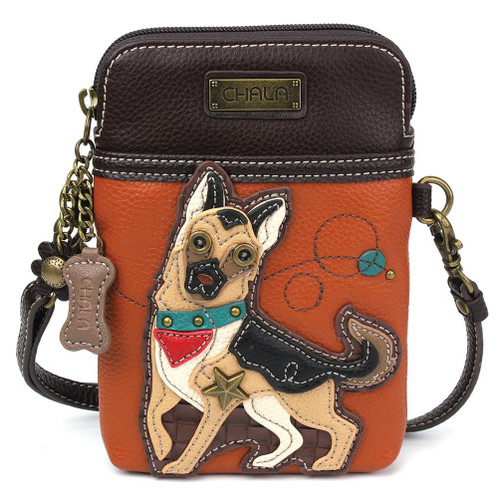 German Shepherd - Small Phone /XBody Bag - Orange - Faux Leather