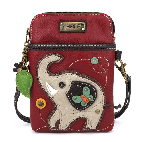 Elephant - Small Phone /XBody Bag - burgundy - Faux Leather