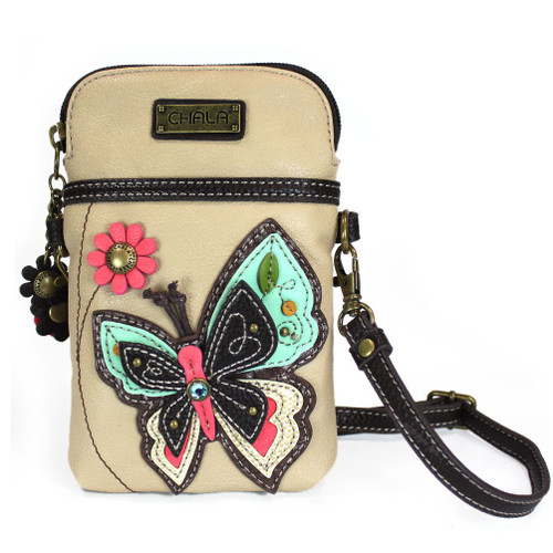 Butterfly - Small Phone /XBody Bag - Ivory - Faux Leather