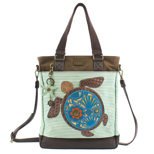 Turtle - Work Tote -  Teal stripes - Canvas and Faux Leather