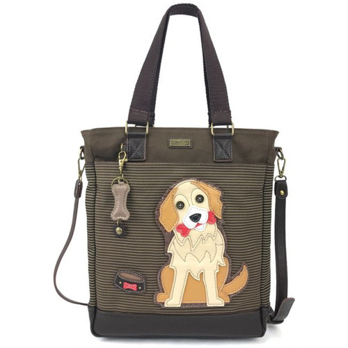 Golden Retriever - Work Tote -  Brown stripes - Canvas and Faux Leather
