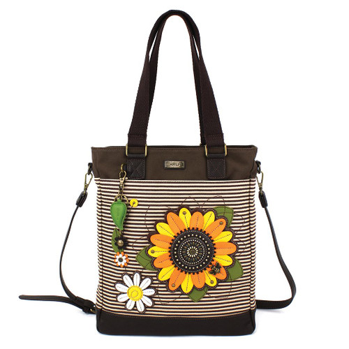 Sunflower with Bee - Work Tote -  Brown stripes - Canvas and Faux Leather