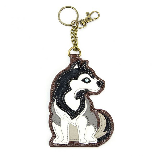 Husky- Keyring/Bag Charm  with zipper coin purse