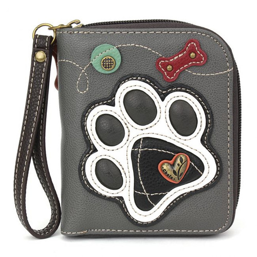 Paw print - Zip-Around Wallet -Grey - Faux Leather