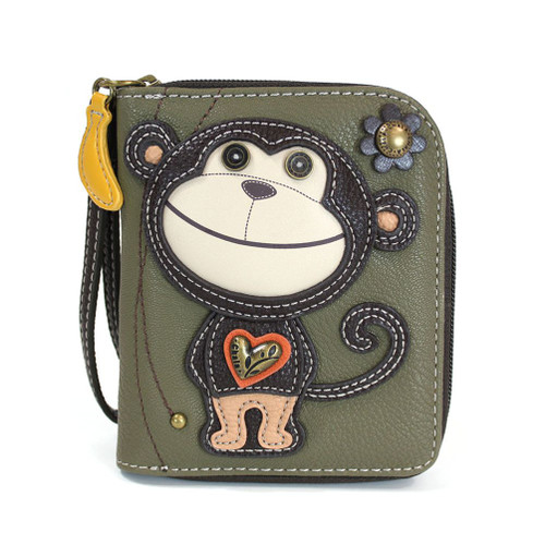 Monkey - Zip-Around Wallet - Olive - Faux Leather