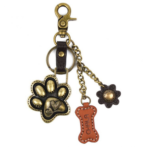 Paw print - Key Chain/ Bag Charm - bronze metal