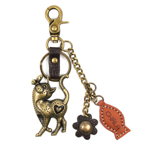 Slim Cat Paw print - Key Chain/ Bag Charm - bronze metal