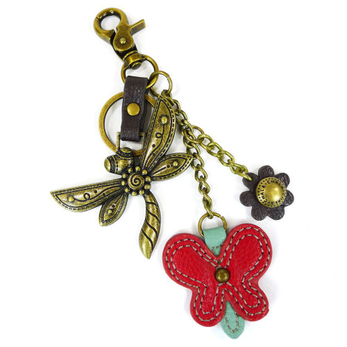 Dragonfly - Key Chain/ Bag Charm - bronze metal