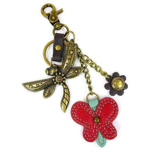 Keyring/Bag Charm - Dragonfly - bronze metal
