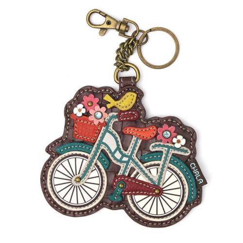 Keyring/Bag Charm with coin purse - Bicycle with bird - Faux Leather