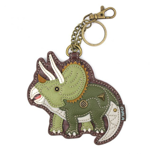 Keyring/Bag Charm with coin purse - Triceratops - Faux Leather