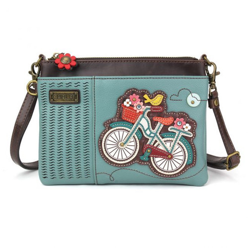 Bicycle - LaserCut Mini Cross Body Bag - Teal - Faux Leather