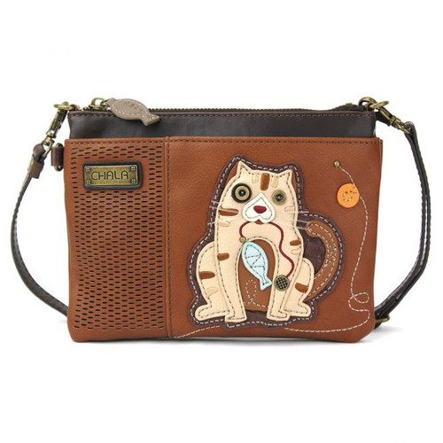 Cat - LaserCut Mini Cross Body Bag - Brown - Faux Leather