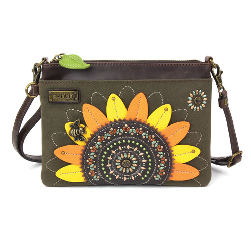 Sunflower with Bee - Dazzled Mini Cross Body Bag - Olive - Faux Leather