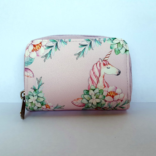 Coin Purse Unicorn - pink - Faux Leather