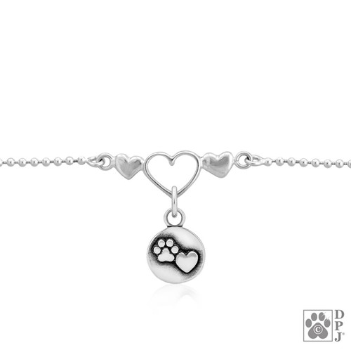 One Love Ankle Bracelet with Close to my heart charm - recycled .925 Sterling Silver