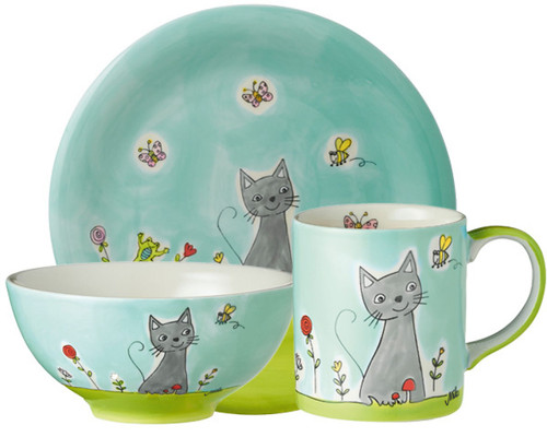 Cat in Flower Meadow - Tableware - hand-painted ceramics - ISO certified