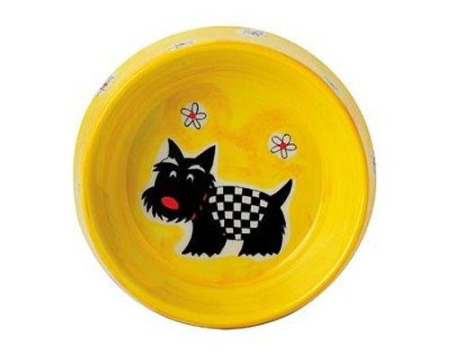 Dog Food Bowl - Scotty - diameter 15 cm - ceramic - hand painted