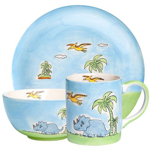 Dinosaur - Tableware for Kids - hand-painted ceramics - ISO certified