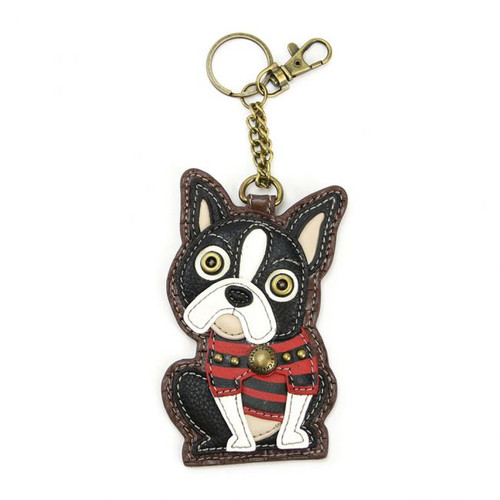 Keyring/Bag Charm with coin purse - Boston Terrier - Faux Leather