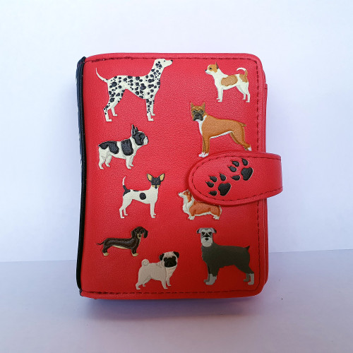 Dogs Dogs Dogs - Small Wallet - Salmon - Faux Leather
