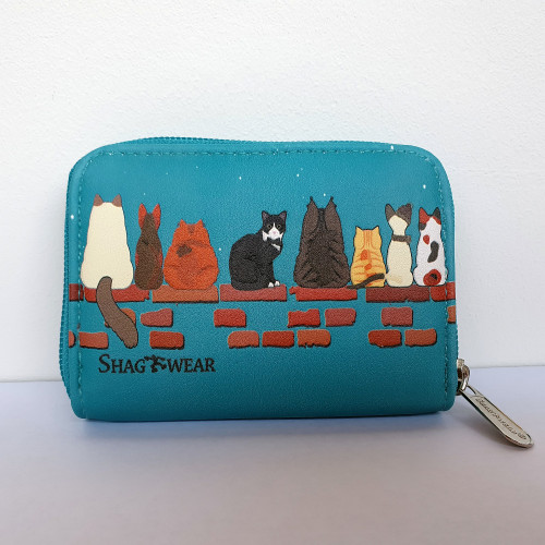 Cats in a Row - Coin Purse - Teal - Faux Leather