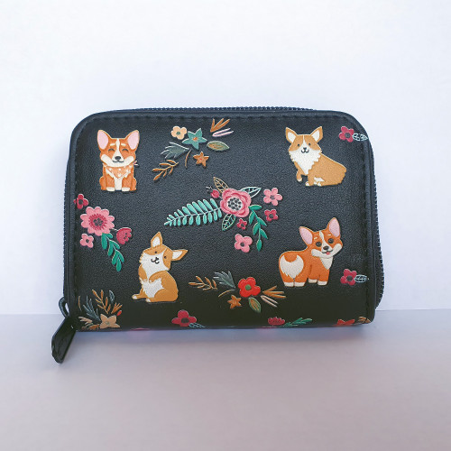 Corgi - Coin Purse - Black- Faux Leather