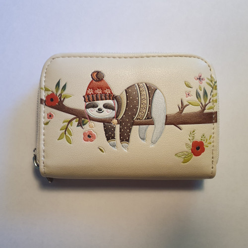 Chillin Sloth - Coin Purse - Cream - Faux Leather