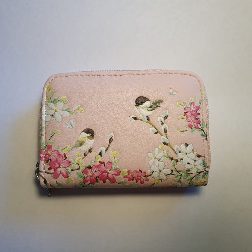 Chickadee Garden Birds - Coin Purse - Pink - Faux Leather