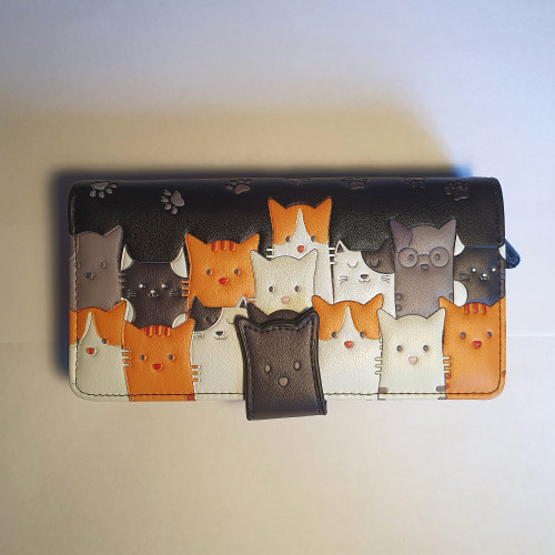 Cat Crowd - Large Wallet - Black - Faux Leather