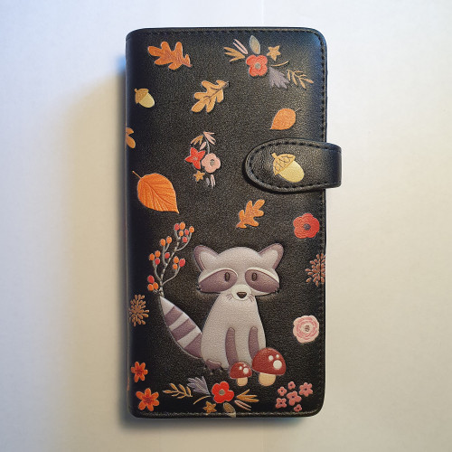 Raccoon and friends - Large Wallet - Black - Faux Leather