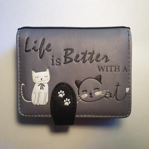 Life is better with a cat - Small Wallet - black/purple - Faux Leather