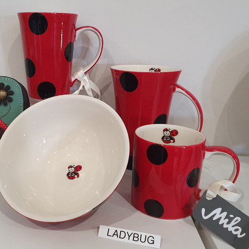 Mila-Design with a Smile Ceramic Series - Ladybug,  showing mugs and bowl