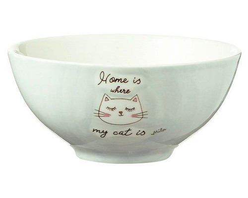 Bowl - Home is where my cat is  - diameter 16 cm - 7 cm high - ceramic