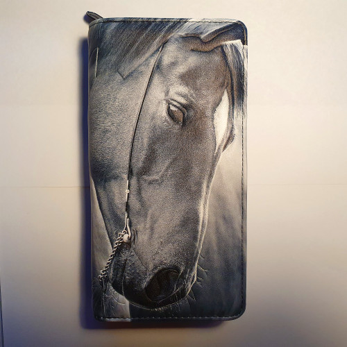 Horse Portrait - Large Wallet - Black/White - Faux Leather