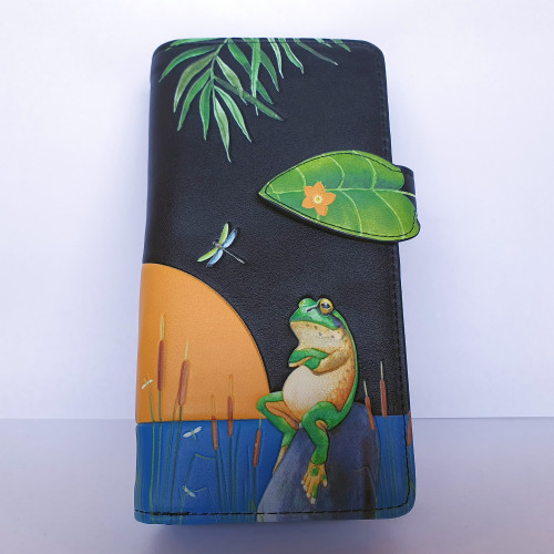 Sunset Frog - Large Wallet - Black - Faux Leather