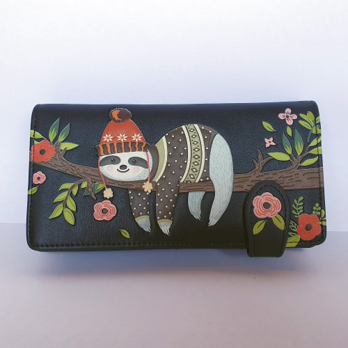 Chillin Sloth - Large Wallet - Black - Faux Leather