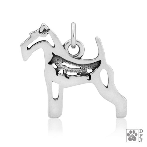 Wire Fox Terrier Body Pendant - recycled .925 Sterling Silver
