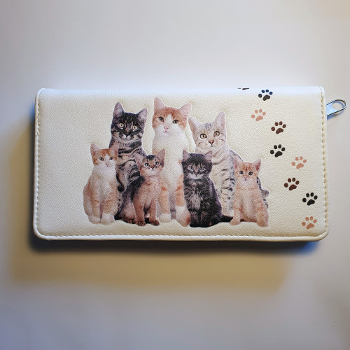 Kitty Cat - Large Wallet - Cream - Faux Leather