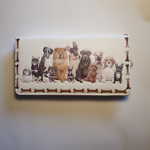 Dogs Friends Forever - Large Wallet - Cream - Faux Leather