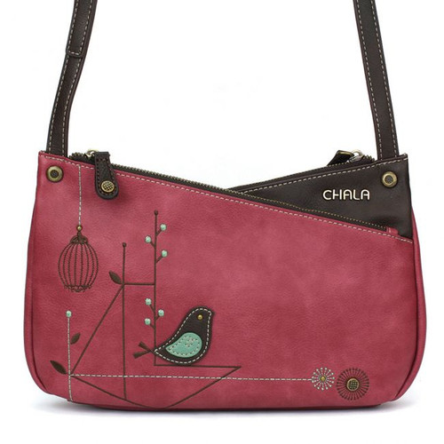 Bird - Criss Cross Body Bag - Berry - Faux Leather