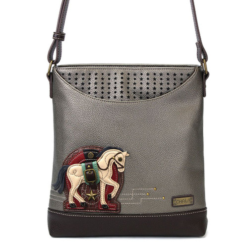 Horse - Sweet Messenger Bag - Warm Grey - Faux Leather