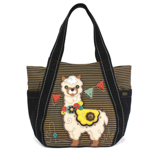 Llama - Carry All Zip Tote Bag - Brown Stripes - Canvas with Faux Leather