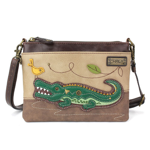 Crocodile - Mini Cross Body Bag - taupe - Faux Leather