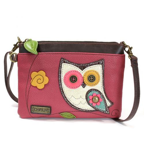 Owl - Mini Cross Body Bag - Pink - Faux Leather