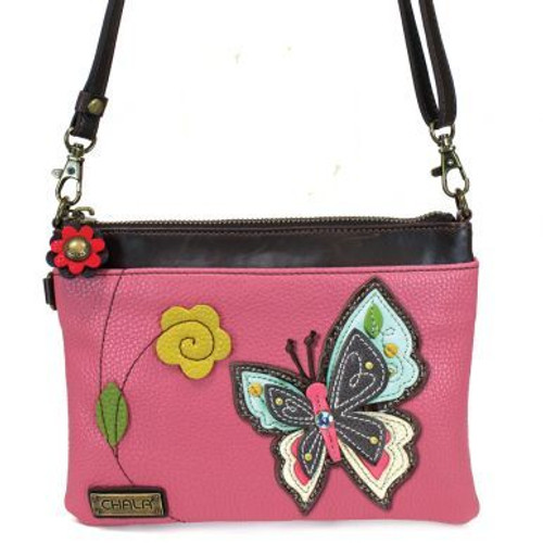 Butterfly - Mini Cross Body Bag - Pink - Faux Leather