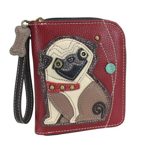 Pug - Zip-Around Wallet - Burgundy - Faux Leather
