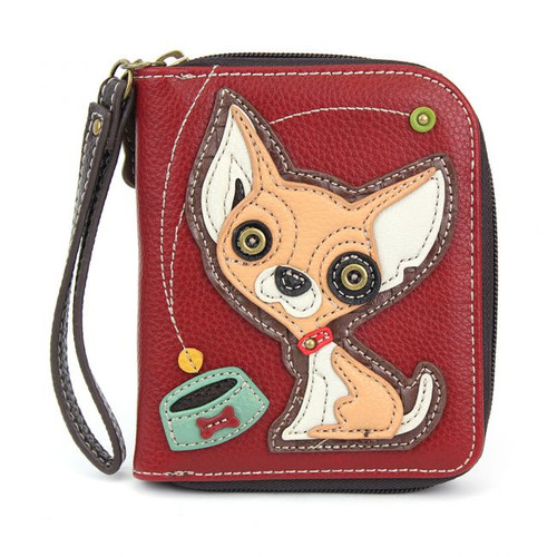 Chihuahua - Zip-Around Wallet - Burgundy - Faux Leather