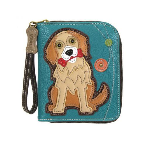 Golden Retriever - Zip-Around Wallet - Turquoise - Faux Leather