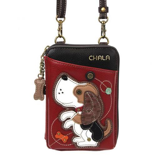 Beagle Dog Wallet XBody Bag - Burgundy - Faux Leather